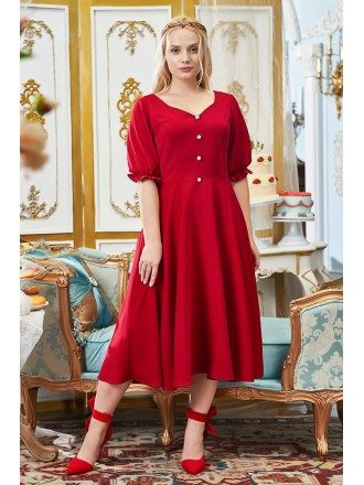 Plus Size Retro Tea Length Semi Party Dress Vintage with Bubble Sleeves Buttons