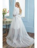 Simple Plus Size Wedding Party Dress Half Sleeved with Removable Dress