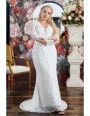Elegant Lace Mermaid Wedding Dress Plus Size with Long Sleeves