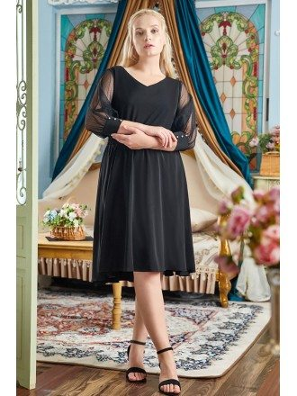 Plus Size Simple Black Knee Length Semi Formal Dress with Sheer Sleeves