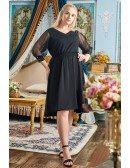 Plus Size Simple Black Knee Length Semi Formal Dress with Sheer Sleeves