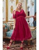 Lace Tulle Empire Tea Length Wedding Party Dress Modest with Short Sleeves