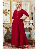 Retro Romantic Burgundy Long Formal Party Dress Vneck with Half Sleeves