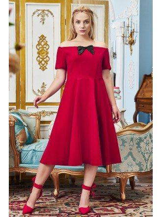 Cute Plus Size Off Shouler Sleeved Tea Length Party Dress with Short Sleeves
