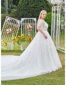 Sequined Illusion Neckline Dreamy Ballgown Wedding Dress Plus Size
