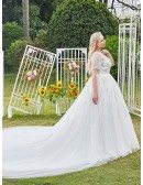 Sequined Illusion Neckline Dreamy Ballgown Wedding Dress Plus Size