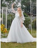 Dreamy Bling Sequins Vneck Plus Size Wedding Dress with Sheer Sleeves