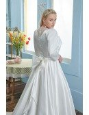 Vintage Square Neck Satin Wedding Dress Plus Size Sleeved with Long Train