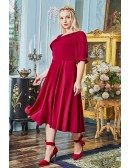 Plus Size Comfy Tea Length Wedding Party Dress Modest with Half Sleeves