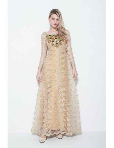 Champagne A-Line Lace Long Dress With Beading