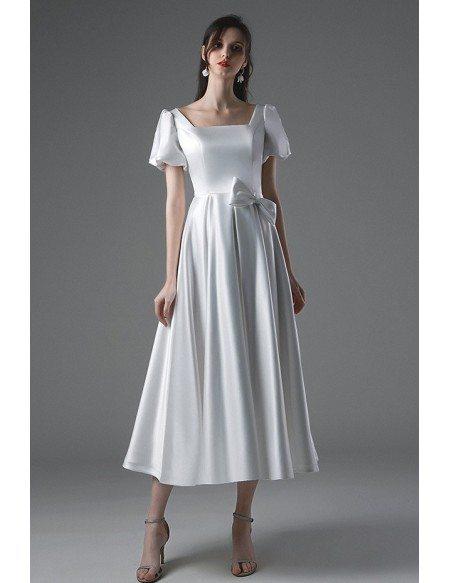 Simple Vintage Satin Tea Length Wedding Dress Square Neck with Bubble Sleeves Sash