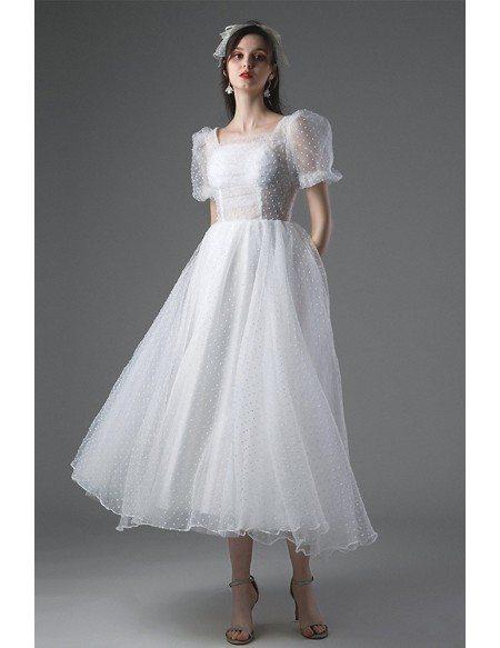 Romantic Retro Polka Dot Tea Length Wedding Dress Vintage with Bubble Sleeves