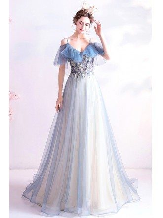 Pretty Light Blue Tulle Long Prom Dress With Beaded Embroidery