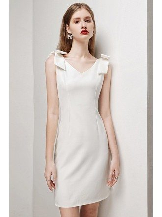 Romantic Bow Knot Straps Sheath White Cocktail Party Dress Sleeveless HTX-i - HTX96010