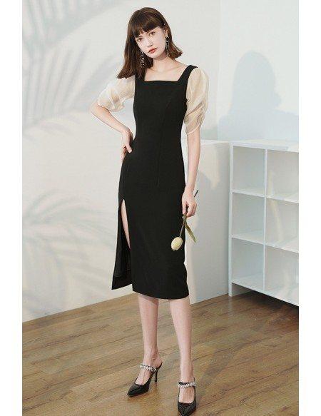 Elegant Square Neckline Sheath Party Dress Black with Side Split