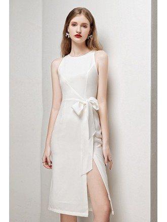 Classy White Round Neck Party Dress with Side Split Sash