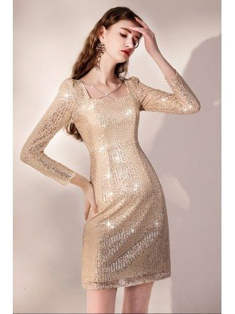 Bling Gold Sequined Bodycon Party Dress with Long Sleeves