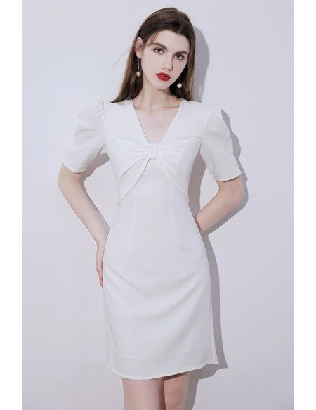 Pretty White Vneck Short Homecoming Party Dress with Bubble Sleeves