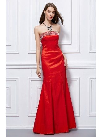 Elegant Mermaid Strapless Taffeta Long Evening Dress With Beading
