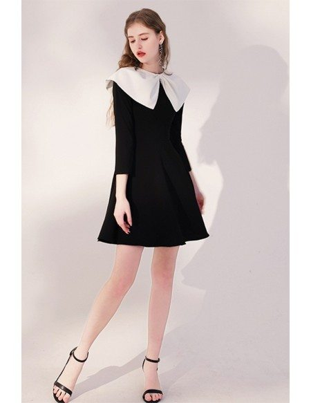 Cute Baby Collar Black Party Dress Flare with Sleeves