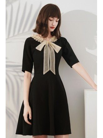 French Chic Little Black Party Dress with Champagne Bow Knot
