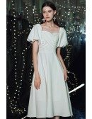 Retro Square Neckline White Knee Length Party Dress with Bubble Sleeves