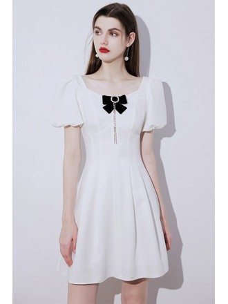 French Romantic Little White Party Dress with Bow Knot Short Sleeves
