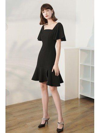 Simple Black Square Neckline Semi Party Dress Fishtail with Ruffles