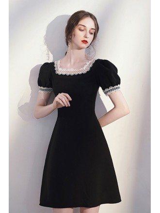 Vitange Lace Square Neckline Little Black Dress with Short Sleeves