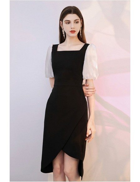 Modern Little Black Cocktail Dress with Square Neckline Bubble Sleeves