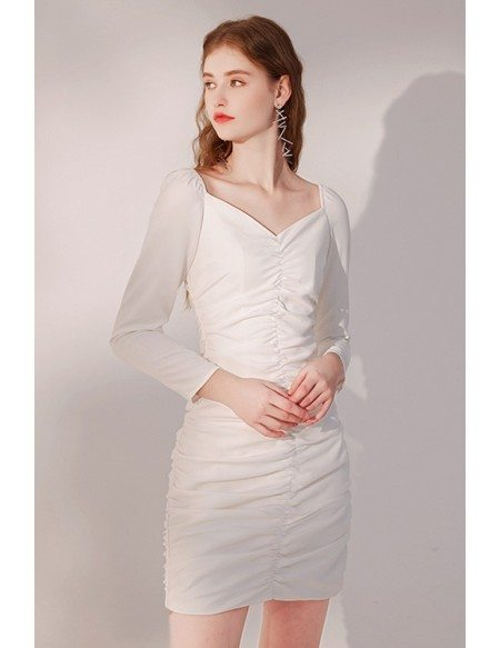 Slim Fit Little White Party Dress with Sleeves