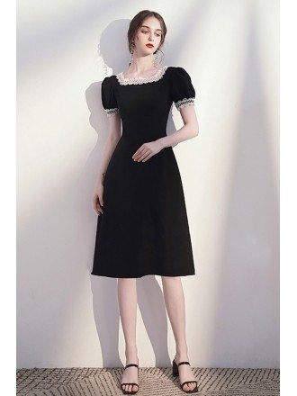 Romantic Lace Square Neckline Black Knee Length Dress with Bubble Sleeves
