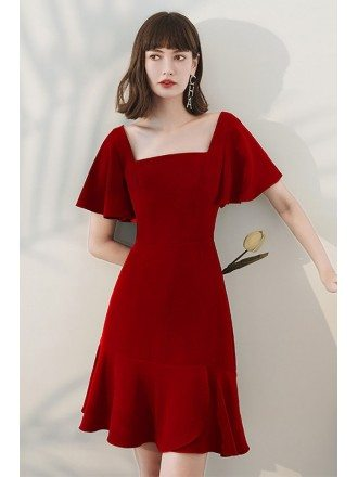 Burgundy Square Neckline Simple Fishtail Party Dress with Ruffles Sleeves