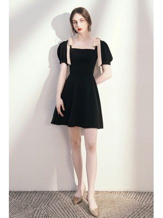 Cute Fit And Flare Little Black Dress with Strappy Bubble Sleeves