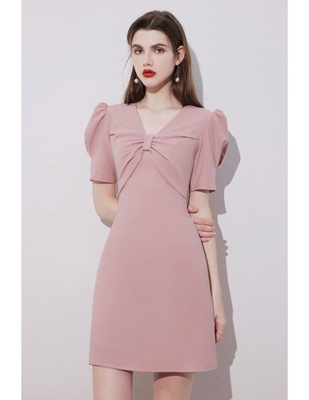 Pretty Pink Vneck Short Homecoming Party Dress with Bubble Sleeves