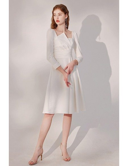Elegant White Knee Length Party Dress Pleated with Sleeves