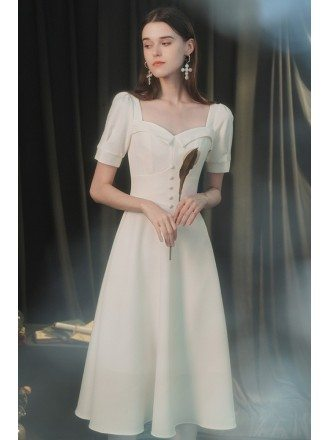 Vintage Chic White Buttons Party Dress with Square Neckline Sleeves