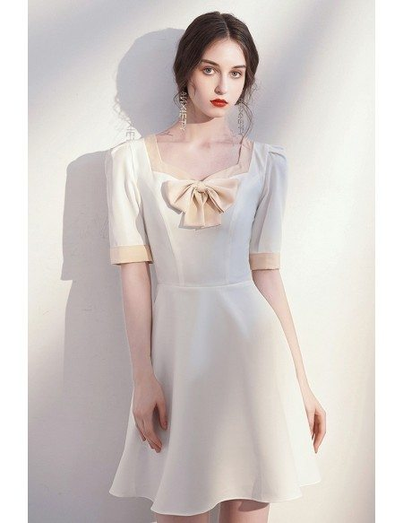 French Chic White Short Party Dress with Bow Knot Short Sleeves