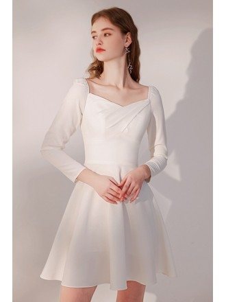 Pleated Square Neckline Little White Party Dress with Sleeves