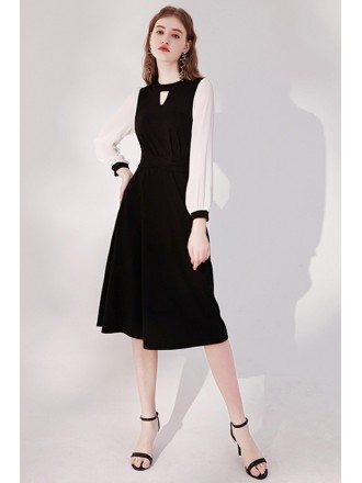 Elegant Keyhole Round Neck Knee Length Black Party Dress with Long Sleeves