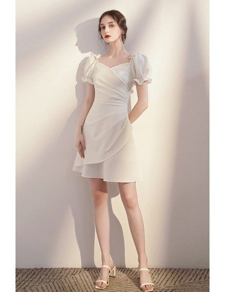 Pleated Short White Homecoming Party Dress with Bubble Sleeves