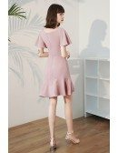 Simple Pink Square Neckline Semi Party Dress Fishtail with Ruffles