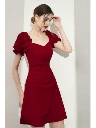 Burgundy Bubble Sleeved Aline Short Party Dress For Semi Formal