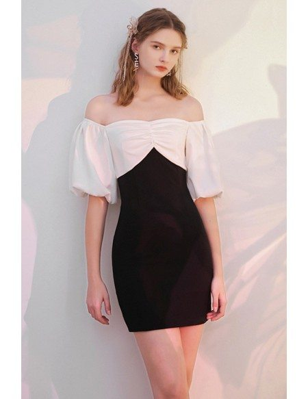 Chic Black And White Semi Party Dress Off Shoulder with Sleeves