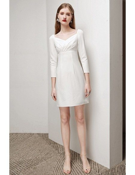 Little White Sheath Cocktail Dress 3/4 Sleeves with Jeweled Back