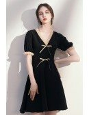 Pretty Vneck Bow Knot Little Black Dress with Sleeves