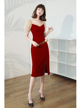 Sheath Burgundy Red Wedding Party Dress with Bubble Sleeves