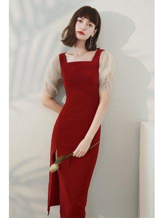 Square Neckline Burgundy Sheath Party Dress with Side Split
