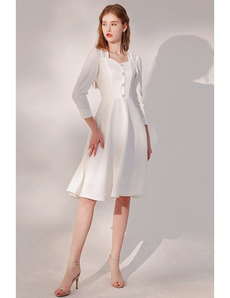 Retro Square Neckline Knee Length Party Dress with Flower Buttons