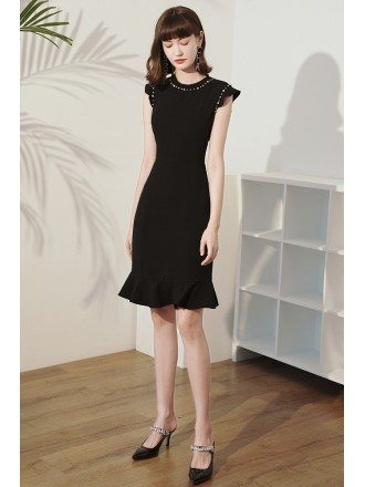 Little Black Chic Round Beaded Neckline Cocktail Dress with Cap Sleeves